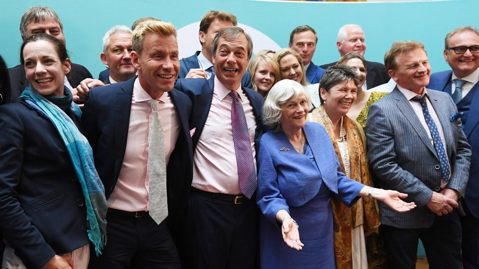 Nigel Farage and Ann Widdecombe celebrate with other Brexit party candidates