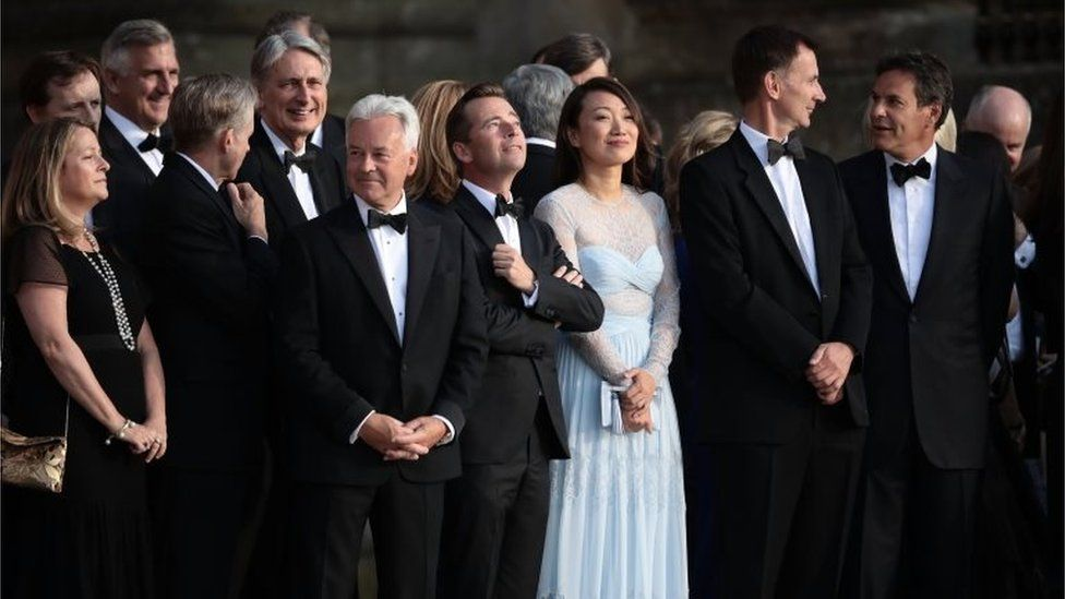 Members of the cabinet and business leaders are at the Blenheim Palace dinner