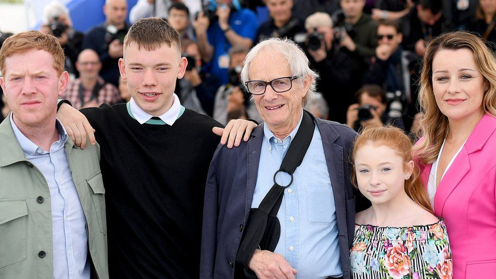 Ken Loach and (l-r) Sorry We Missed You stars Kris Hitchen, Rhys Stone, Katie Proctor and Debbie Honeywood