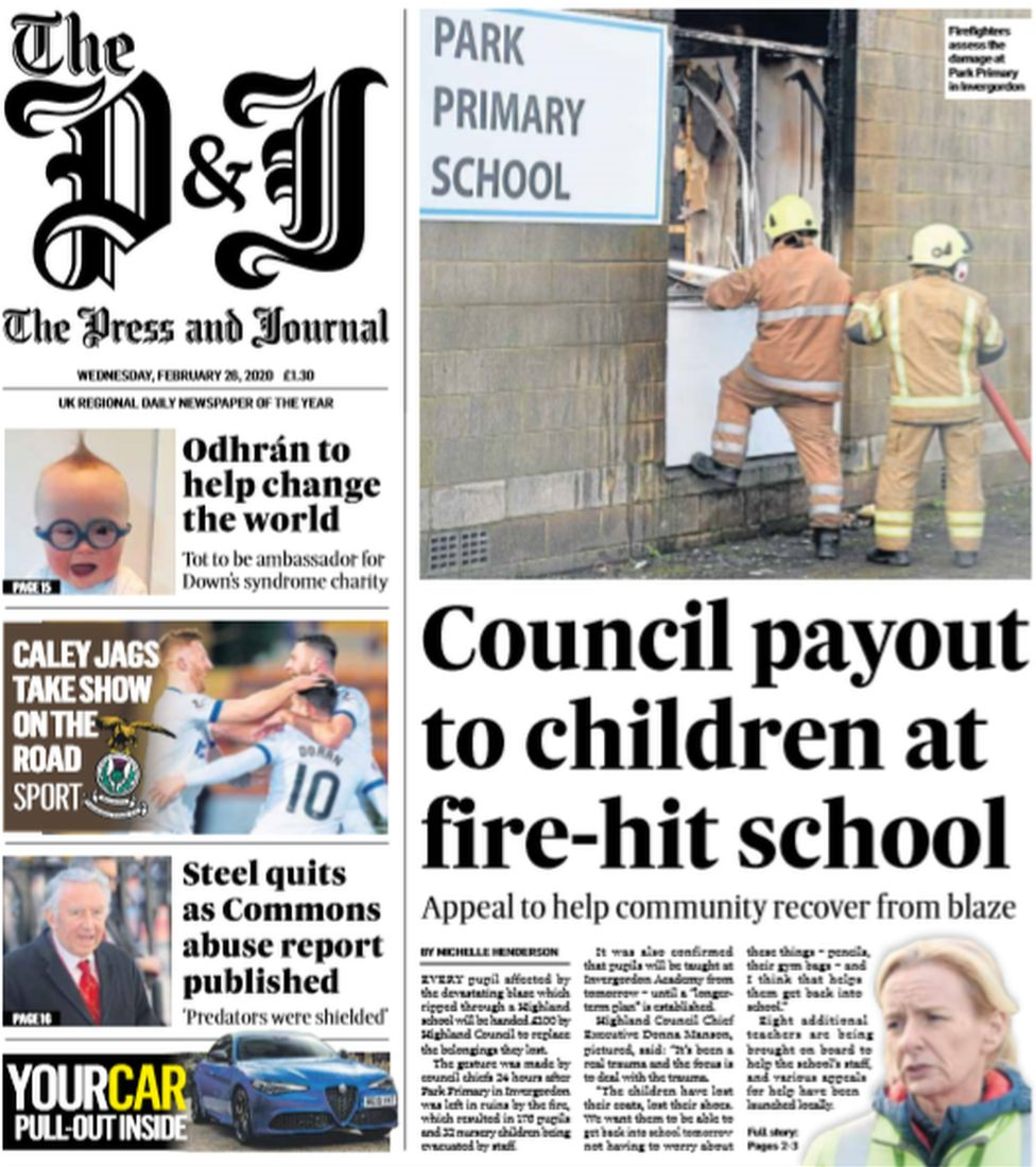 P&J front page