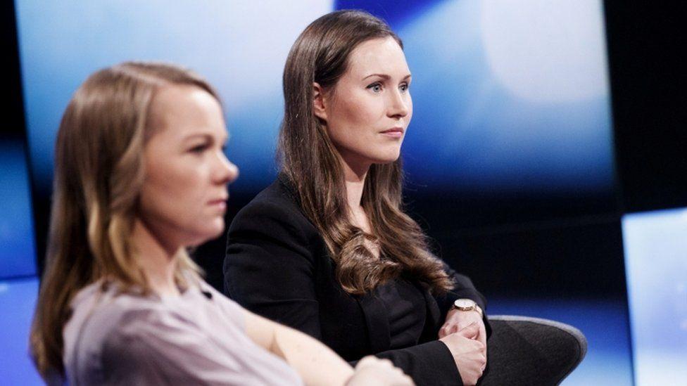 Katri Kulmuni (L) and Sanna Marin take part in talk show - 3 December