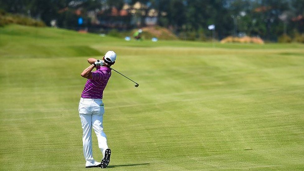 Daniel Stapff of Brazil hits the ball during the test Golf Tournament at the Olympic Golf Course
