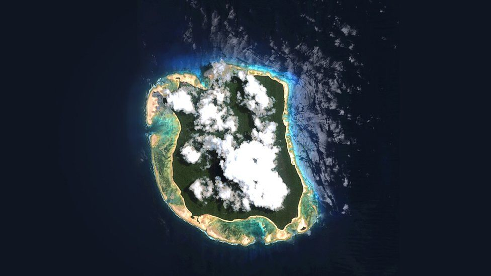 North Sentinel Island, home of the Sentinelese, as seen from above.