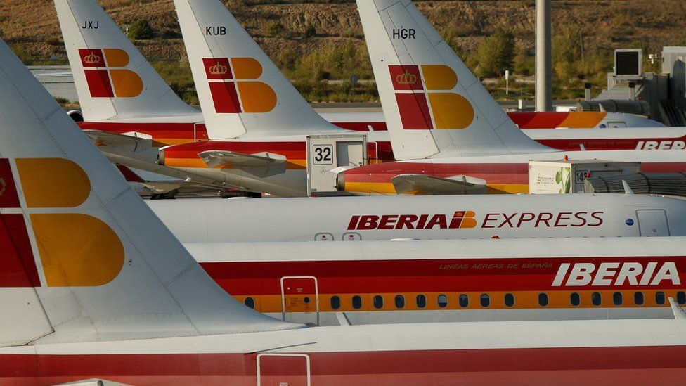 Iberia planes parked at Adolfo Suarez Madrid Barajas Airport, Madrid (5 September 2014)