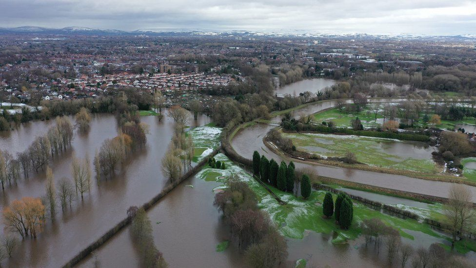 Aerial view showing flooding in the Didsbury area of Manchester after Storm Christoph