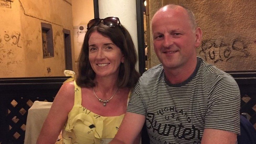 Sean Cox with his wife Martina before he was attacked