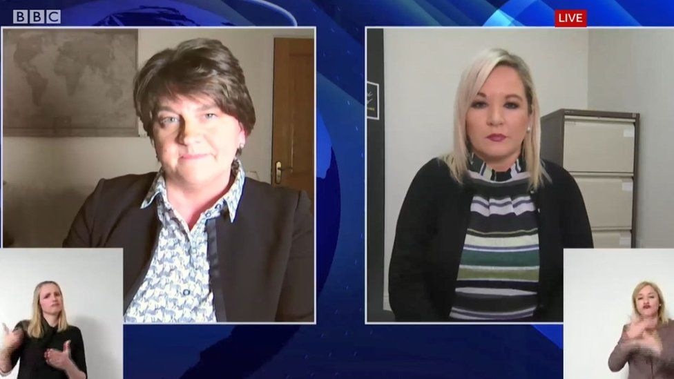 Arlene Foster and Michelle O'Neill remote briefing