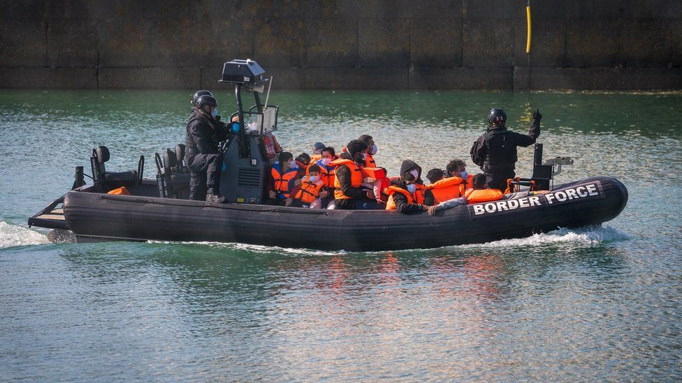 Border Force transports a group of people found in the English Channel