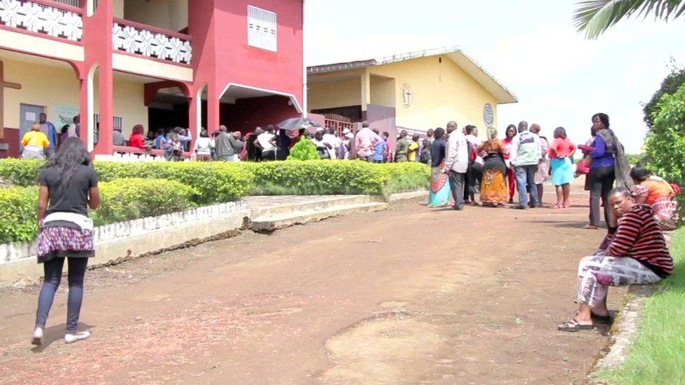 Parents gather at Presbyterian Secondary School in Bamenda