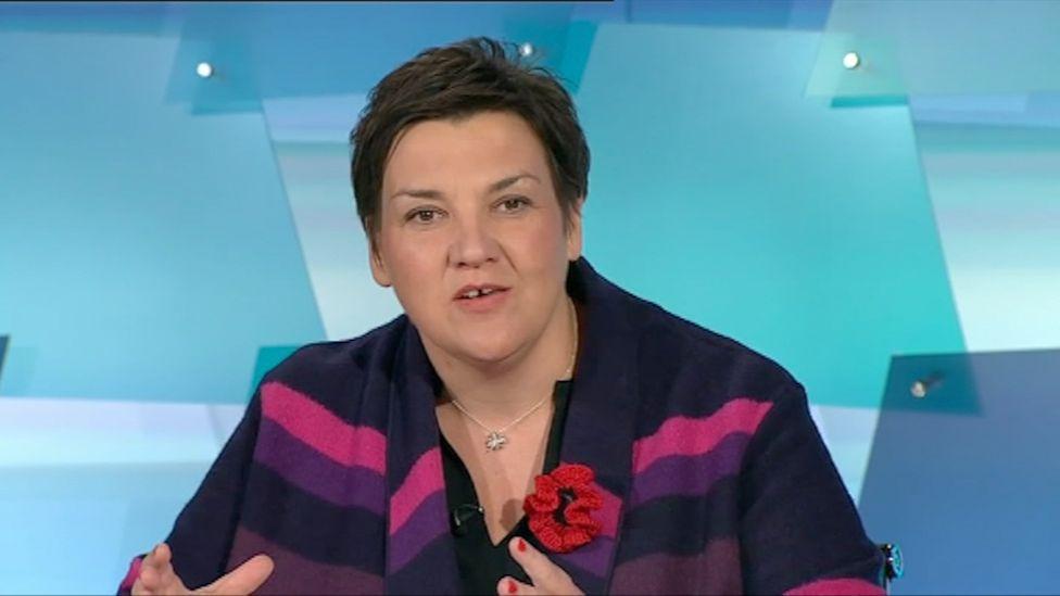 Tonia Antoniazzi in BBC Wales Live Debates, 27 October 2019 in Swansea
