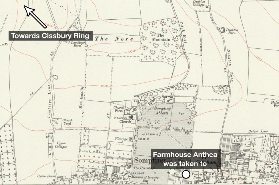 1934 map of Sompting, Sussex
