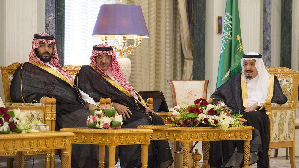 King Salman (R) sites beside Crown Prince Mohammed bin Nayef (C) and Deputy Crown Prince Mohammed bin Salman (R) on 24 April 2017