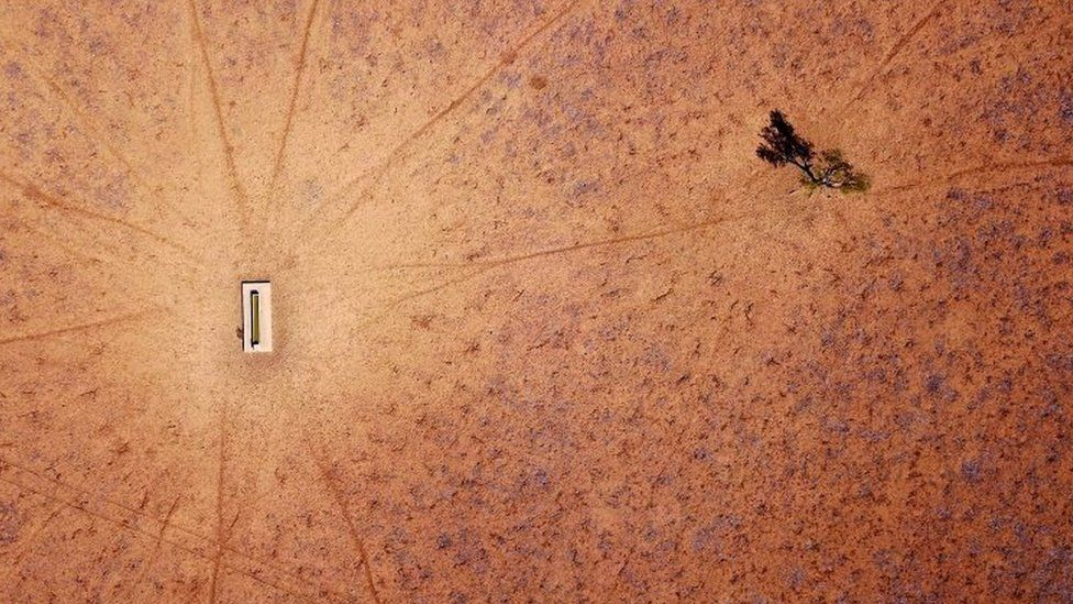 An overhead view of a drought-affected farm in NSW