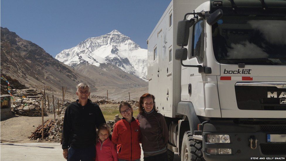 Steve and Gilly Snaith with their two daughters at Mt Everest base camp in Tibet