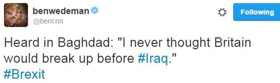 "Heard in Baghdad: ""I never thought Britain would break up before #Iraq."""