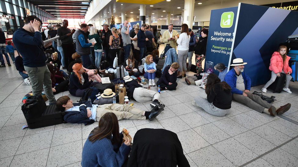 Passengers stranded at Gatwick Airport