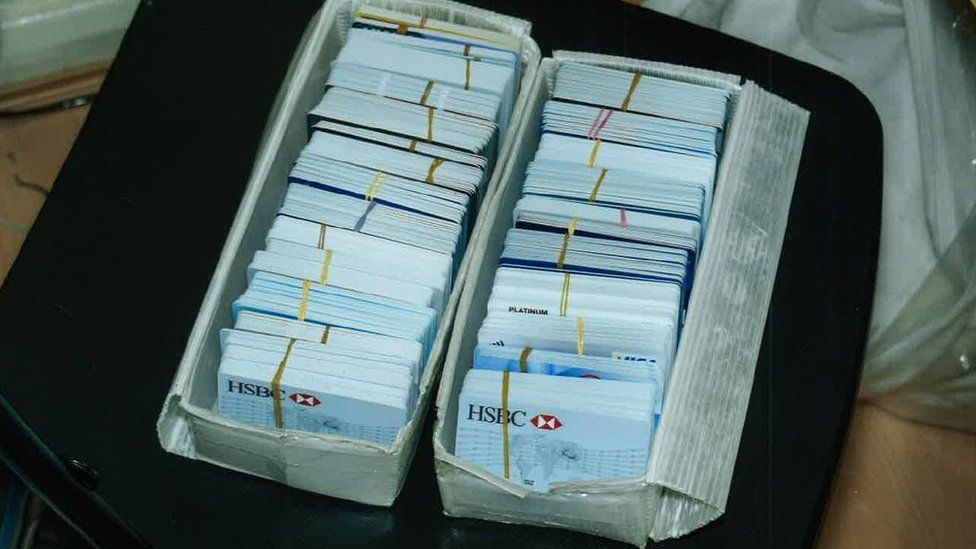 Fake credit cards amassed by Gabriel Yew