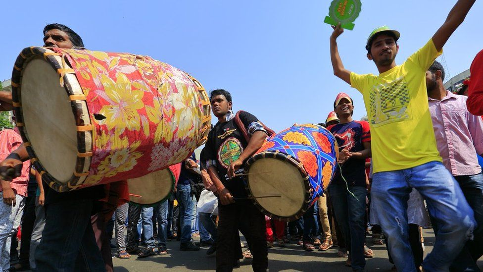 Traditional Bangla drummers got the crowds dancing during the Mongol Shobhajatra parade