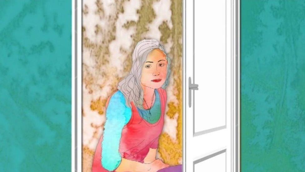 An illustration of a woman sitting behind a doorway