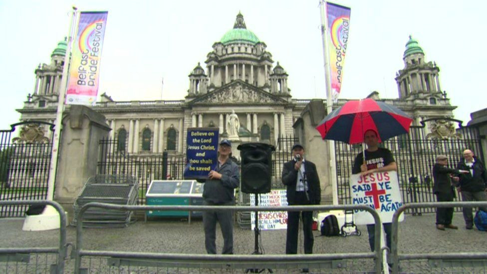 Protesters demonstrated against this year's Pride parade in Belfast