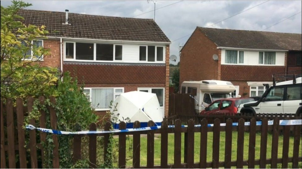 Forensic tent in Cherry Close, Bewdley