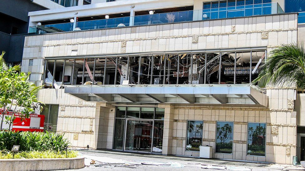 Security forces inspect the scene after a blast targeting Shangri La hotel in Colombo, Sri Lanka on April 21, 2019