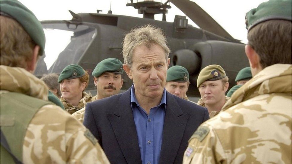 Tony Blair with British forces in Helmand Province in 2006