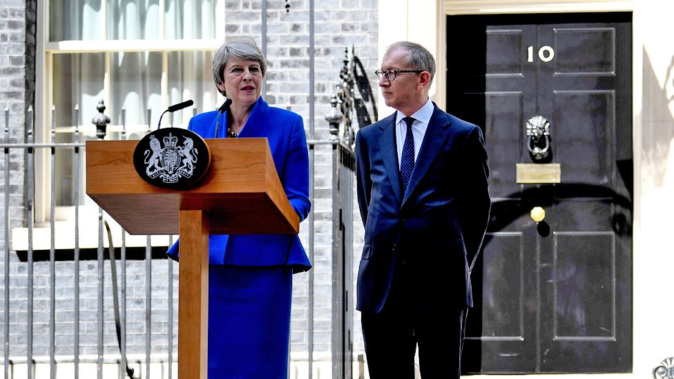 Theresa May gives a speech outside Downing Street