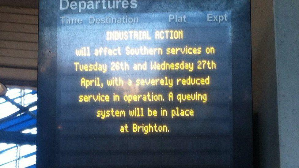 Departure board at Brighton station