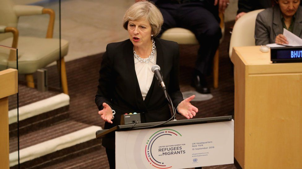 British Prime Minister Theresa May delivers a keynote speech on the refugee crisis at the United Nations General assembly in New York City, 19 September 2016
