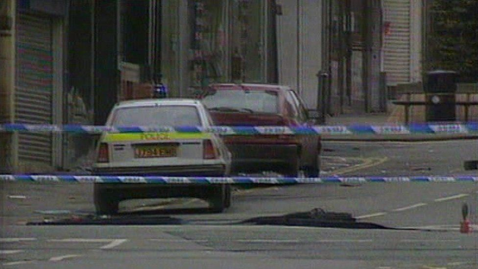 The scene of the Warrington bomb in March 1993