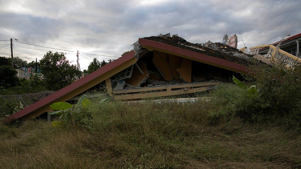 A collapsed house in Puerto Rico