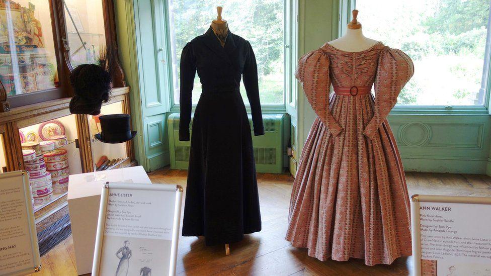 Gentleman Jack TV costumes in Anne Lister Halifax hometown display