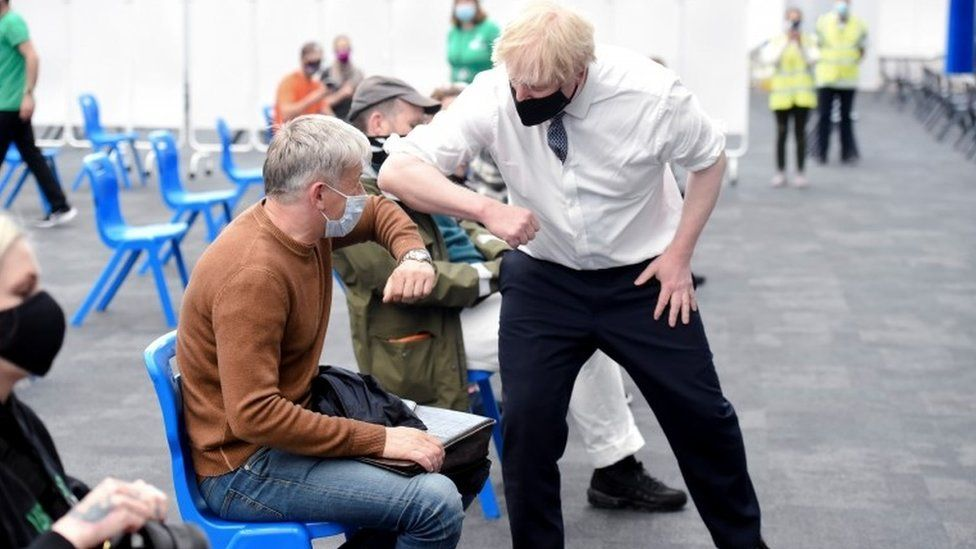Boris Johnson visited a vaccination centre at the Business Design Centre in Islington, London