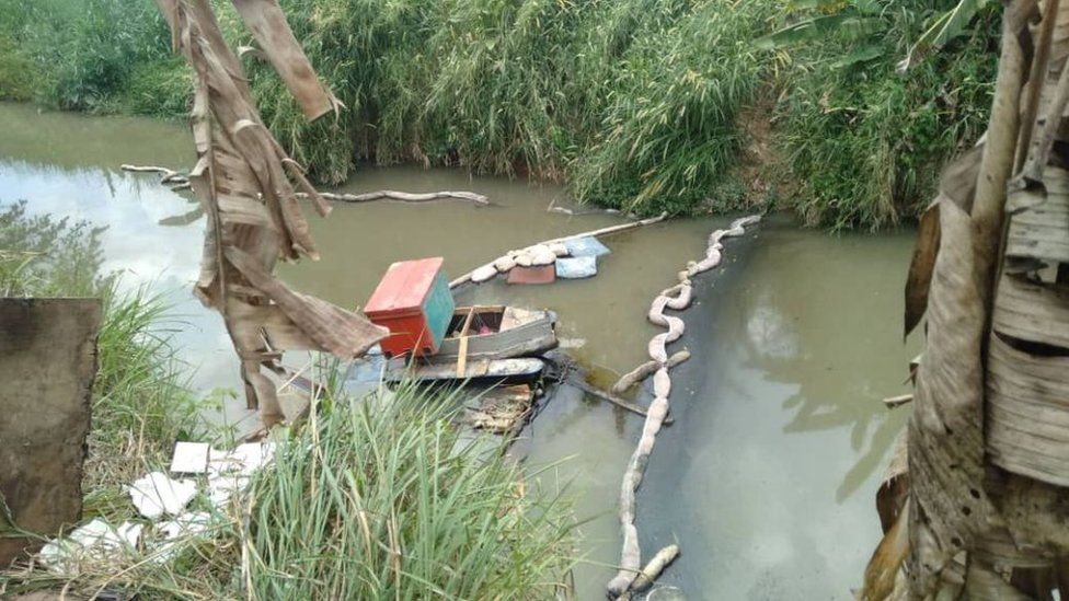 Part of the Sungai Kim Kim river undergoing a clean-up