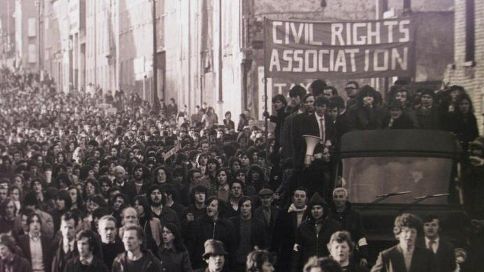 Bloody Sunday march in Londonderry in 1972