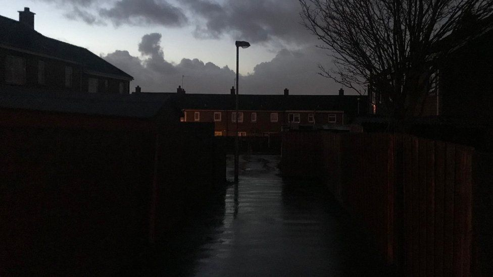 A faulty street light at Lincoln Court in Londonderry