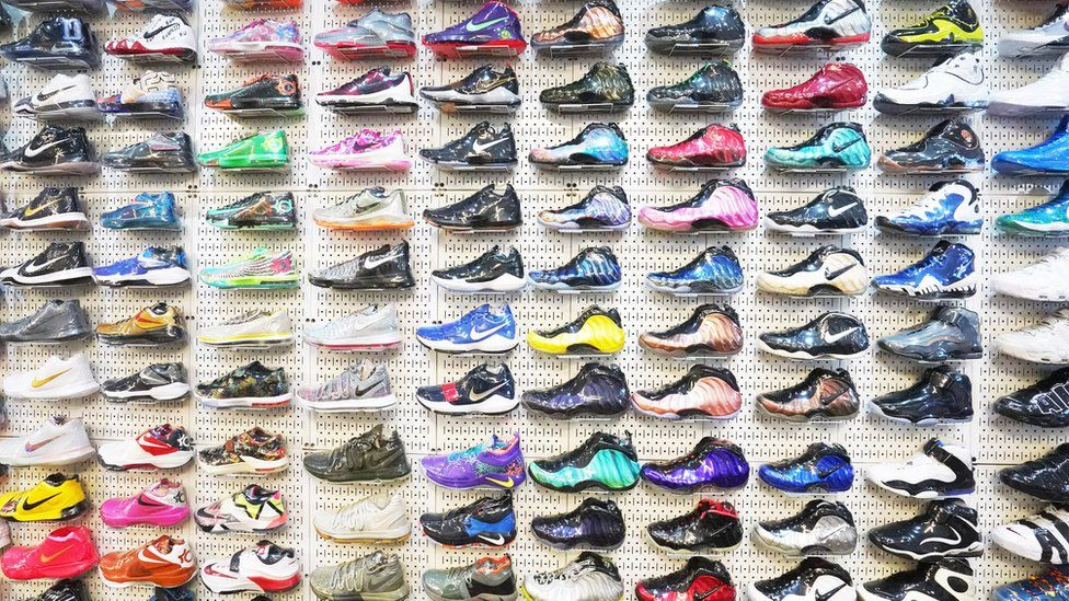 Sneakers on display at Stadium Goods specialist store in New York.