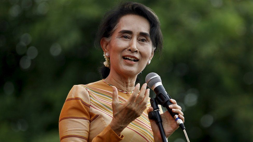 Myanmar pro-democracy leader Aung San Suu Kyi gives a speech on voter education at the Hsiseng township in Shan state, Myanmar, 5 September 2015