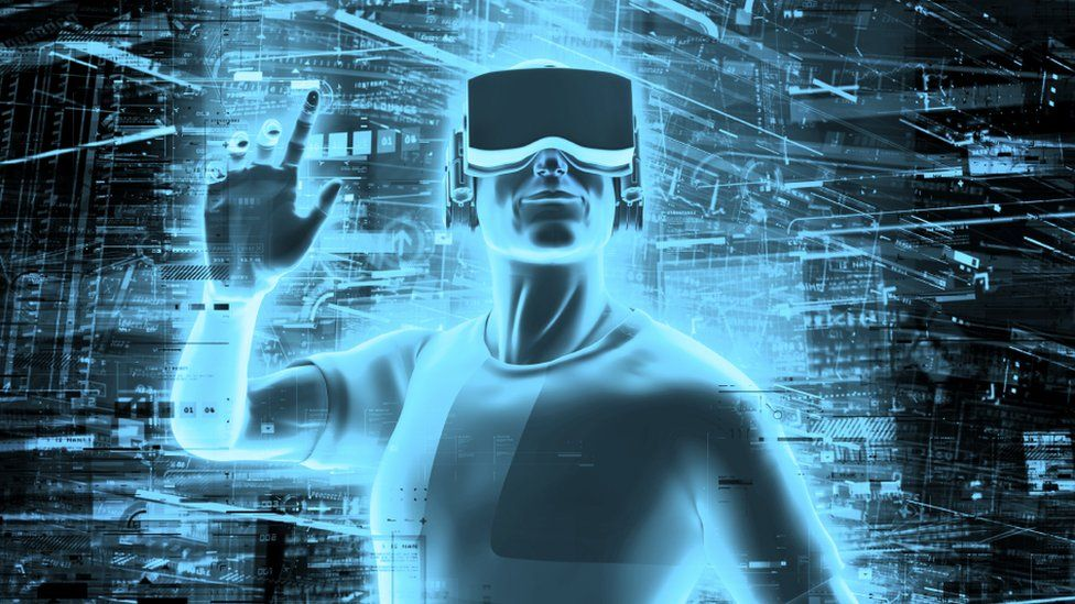 3D render of man wearing virtual reality glasses surrounded by virtual data