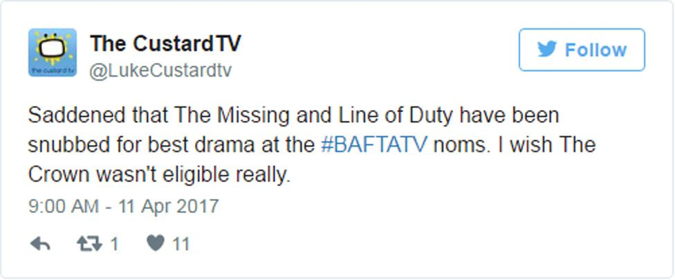 """Tweet: """"Saddened that The Missing and Line of Duty have been snubbed for best drama at the #BAFTATV noms. I wish The Crown wasn't eligible really."""""""