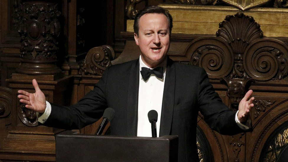 UK Prime Minister David Cameron speaks at banquet in Hamburg, 12 Feb 16