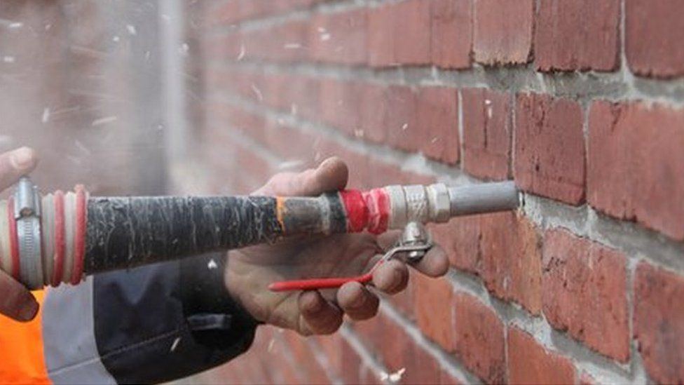 Drilling for wall insulation