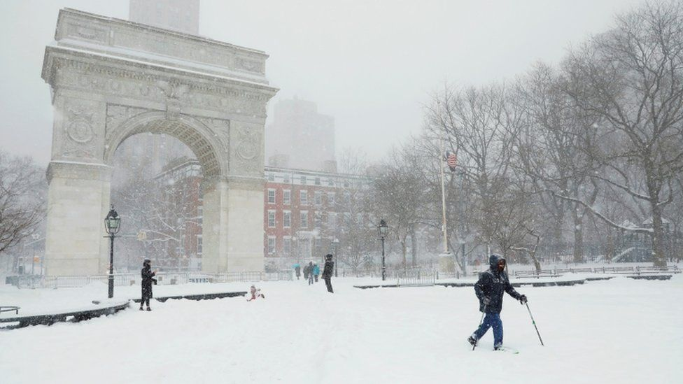 Washington Square Park during a winter storm on February 1, 2021 in New York City.
