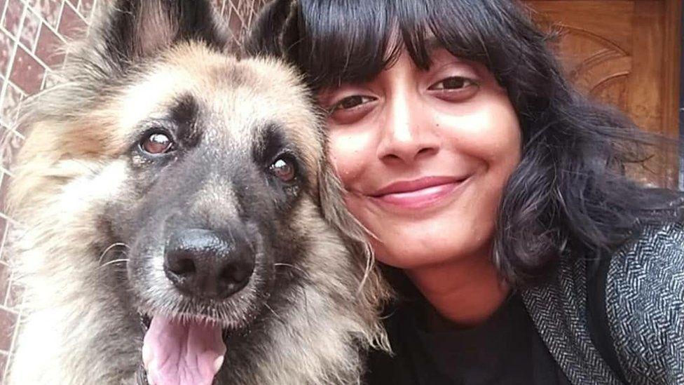 Disha Ravi and her dog