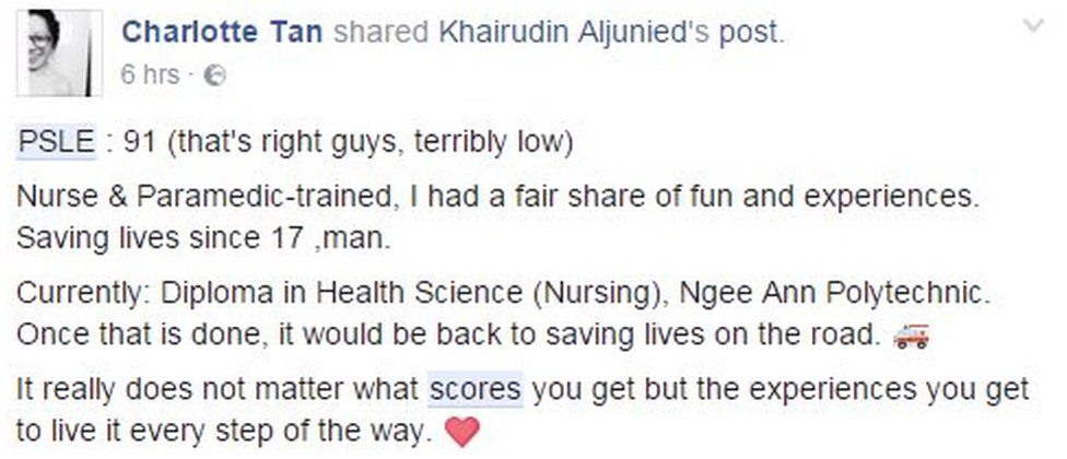 Screenshot of Facebook commenter sharing their PSLE score