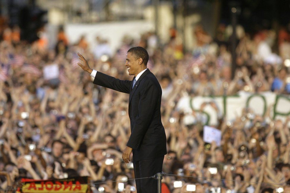 Senator Barack Obama was cheered by thousands in Berlin in 2008