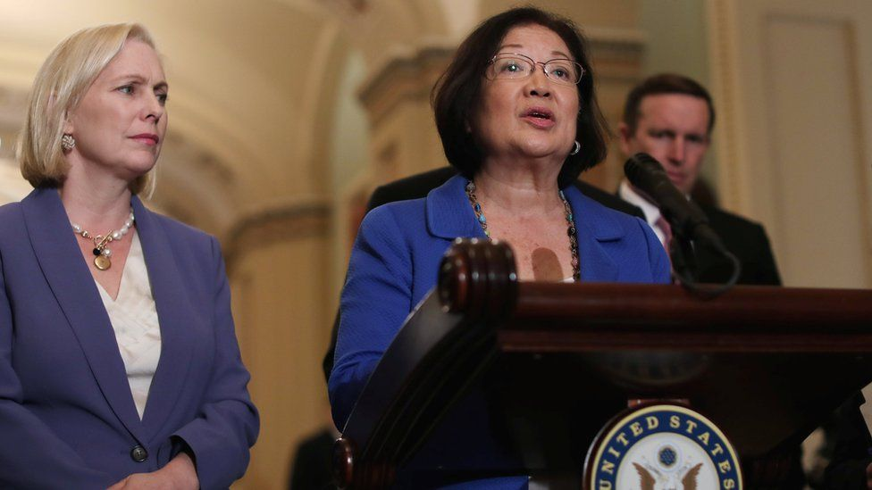 US Senator Mazie Hirono addresses reporters about the Supreme Court nomination of Judge Brett Kavanaugh and the sexual assault accusation against him, 18 September 2018