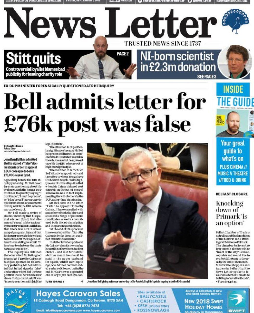 front page of the News Letter Friday 7 September 2018