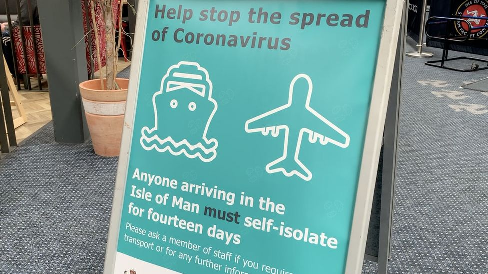 Self-isolation sign at sea terminal